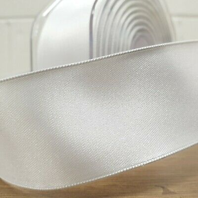 Beautiful Wired Edge Double Sided Satin Ribbon White 25mm-50mm Wide Plain Per 1M