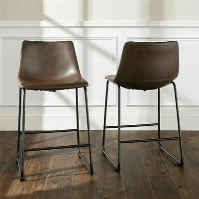 2 Pack Tan Leather Bar Stool/ Industrial Leather Kitchen Stools Chair 70cm high