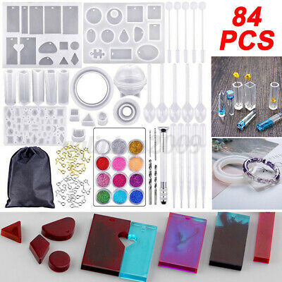 AU 84pcs DIY Resin Casting Craft Mold Silicone Making Jewelry Pendant Mould Kit
