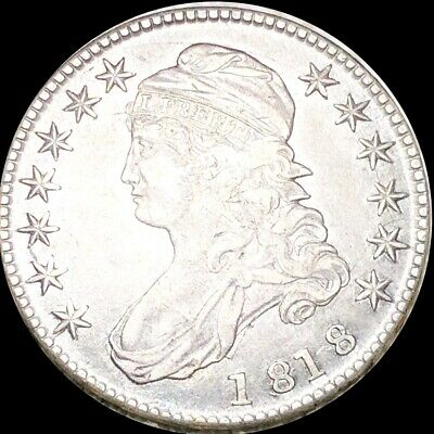 1818 Capped Bust Half Dollar ABOUT UNCIRCULATED Philadelphia au 50c Silver Coin!