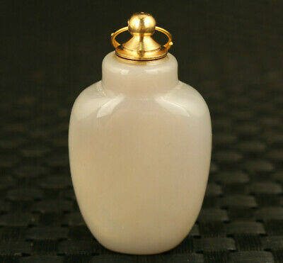chinese old white jade agate pendant necklace snuff bottle noble gift