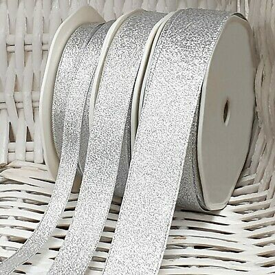 Small-Large SILVER GLITTER METALLIC RIBBON Craft Gift Wrap Cake Edge Trim Per 1M