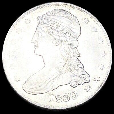 1839 Capped Bust Half Dollar NEARLY UNCIRCULATED Philadelphia 50c Silver Coin NR