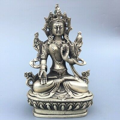 Collectable Old Miao Silver Hand-Carved Chinese Kwan-yin Delicate Lucky Statue