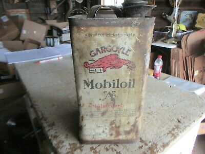 Vintage 1 Gallon Mobiloil Gargoyle A Oil Can Lot 20-14-25