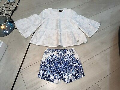 Girls Designer Roberto Cavalli Outfit Top & Shorts Age 6 Years Vgc