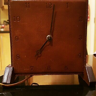 Vintage art deco mantle clock Temco brand square dial leather faced.