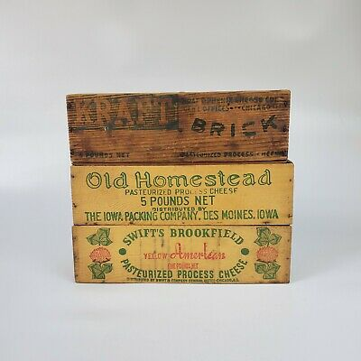 Lot Of 3 Vintage Cheese Boxes Kraft & Old Homestead