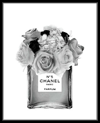 Perfume Bottle Print Fashion Wall Art Decor Roses Picture Bedroom Black White A4