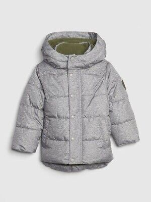 Nwt Baby Gap Toddler Grey Cold Control Max Puffer - Size 2 Year Old -