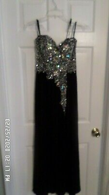 Crystal Doll Black Beaded Gown Maxi Dress Size 3 High Slit Zipper Closure