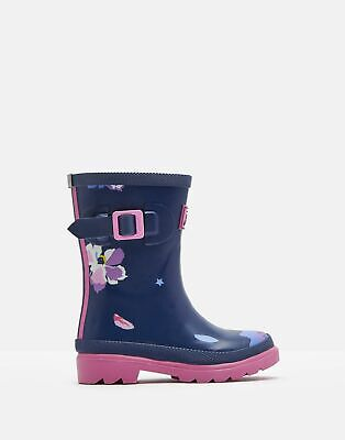 Joules Girls Printed Wellies - BLUE CONFETTI FLORAL Size Childrens 13