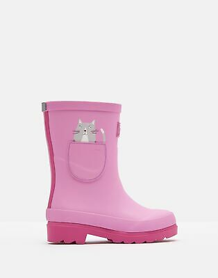 Joules Girls Printed Wellies - PINK POCKET CAT Size Childrens 1