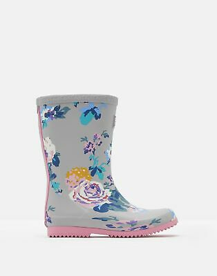 Joules Girls Roll Up Wellies - GREY FLORAL Size Childrens 8