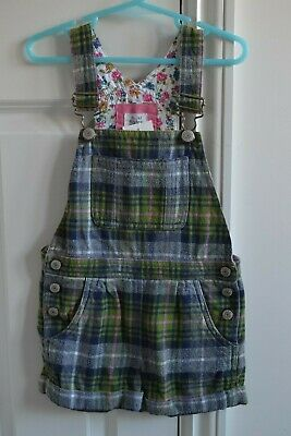 Lovely Mini Boden Girls Checked Brushed Cotton Short Dungarees 3-4Y EUC