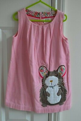 Lovely Mini Boden Girls Pink Mouse Applique Cord Pinafore Dress 4-5Y EUC