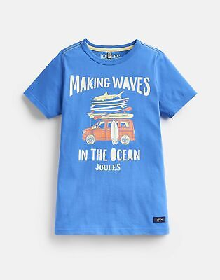 Joules Boys Ben Screenprint T Shirt  - BLUE MAKING WAVES Size 4yr
