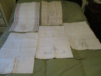 5 Adorable Vintage Stamped Linen Dish Towels to Embroider
