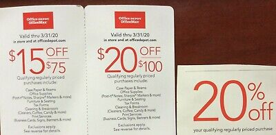 $15 off, $20 off, 20% off - Office Depot OfficeMax coupons