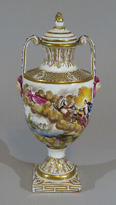 "Later Capodimonte antique Italian lidded urn c.1880 8"" tall see listing sku:CDMN"