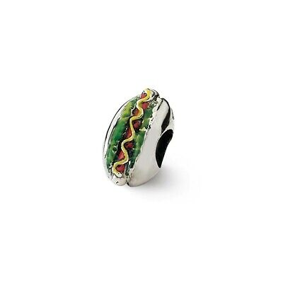 Enamel Hot Dog Bead .925 Sterling Silver Antique Finish Reflection Beads