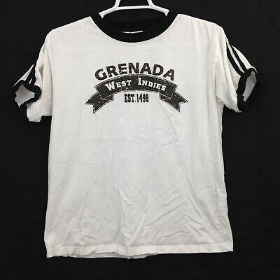 Grenada West Indies T Shirt Mens Large White Black Ringer Spell Out