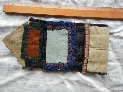 Antique Quilted Needle Case  Pin Wrap Housewife 19th Century Primitive  Original