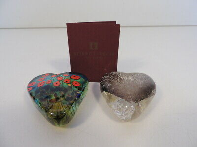 2 Robert Held Heart Art Glass Paperweights Iridescent Silver & Red Poppies