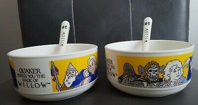 SET of 2 Promotional Quaker Oats WILLOW Cereal Bowls from 1988 with Spoons!