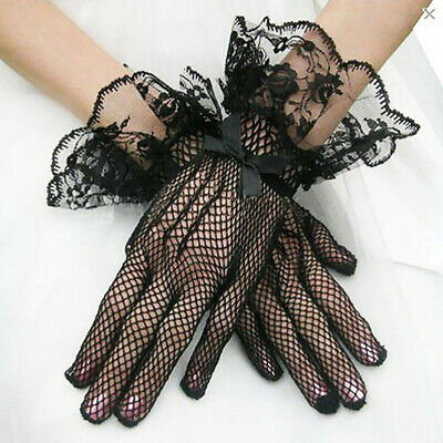 Womens Black and White Lace Bridal Dress Gloves Mesh High Elastic Knitted Gloves