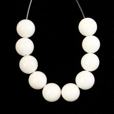 10pcs 8mm Natural White Jade Round Ball Pendant Bead z19333