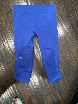 Ivivva Size 12 Cropped Leggings Blue Girls By Lululemon High Waisted