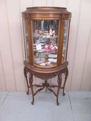 56318 French Bow Glass Gold Vitrine China Cabinet Curio with Drawer