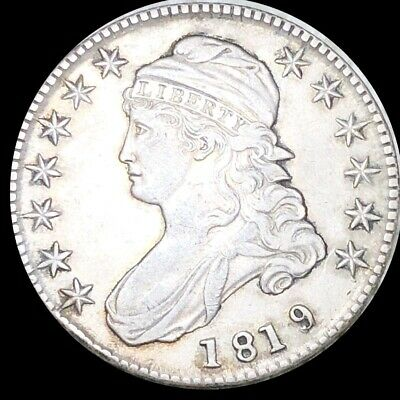 1819 Capped Bust Half Dollar CLOSELY UNCIRCULATED Philadelphia 50c Silver Coin!