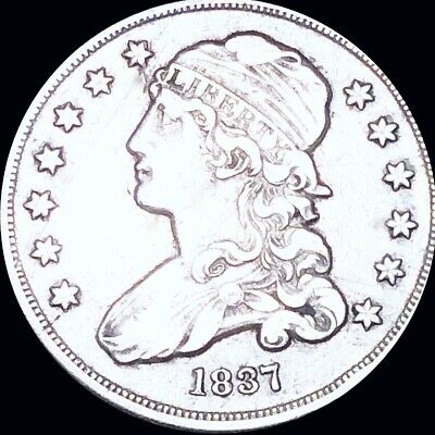 1837 Capped Bust Quarter ABOUT UNCIRCULATED Philadelphia au 25c Silver Coin NR!