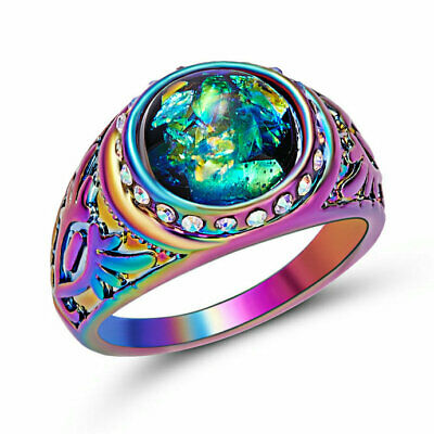 New luxury Wedding Party Stunning Black Opal18KT Rainbow Gold Filled Ring size 7