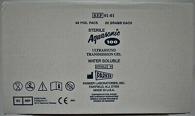 Aquasonic 100 Ultrasound Transmission Gel 48 20gm Sterile Foil Packs Combo Box