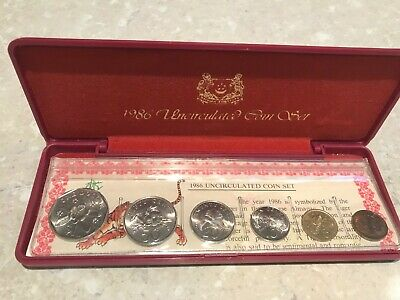 1986 Singapore Uncirculated Coin Set including case