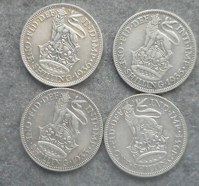 Great Britain 1933 1934 1935 1936   Shilling  Silver Coin  Nice