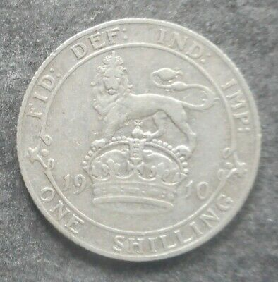 Great Britain 1910 KEVII  Shilling  Silver Coin  better Grade
