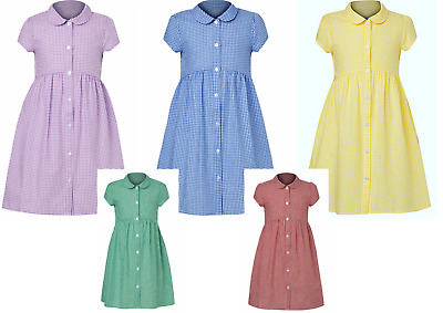 Girls Gingham Uniform School Summer Dress Rich Easy Care Cotton  3-4 to 12-13yrs