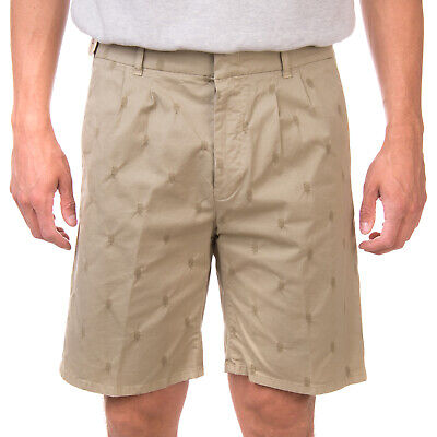 RRP €135 N4 FOUR Chino Shorts Size 33 Embroidered Pattern Pleated Made in Italy