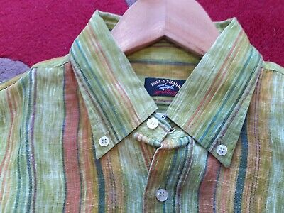 Paul and Shark pure linen summer shirt. Lime green. Large. Excellent condition.