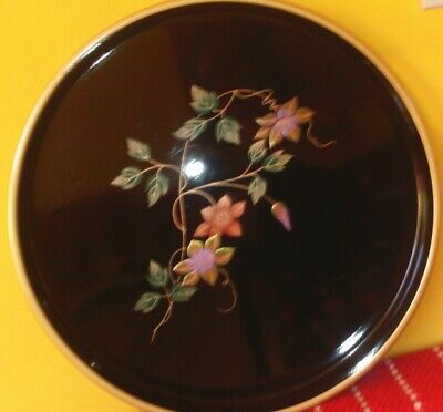 Vintage Oriental Gild/Hand Painted Floral Decoration Black Lacquer Serving Tray.