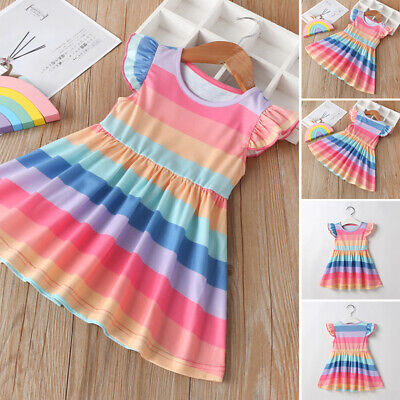 Baby Toddler Kids Girls Sleeveless Dress Summer Sundress Rainbow Party Dresses