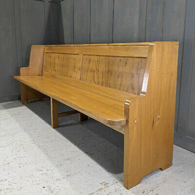 Simple 1960's Danish Style Beech Panel Back Church Pew from Hampton Methodist Ch