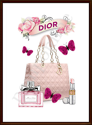 Pink Fashion Print Bag Perfume Wall Art Watercolour Picture Decor Bedroom A4