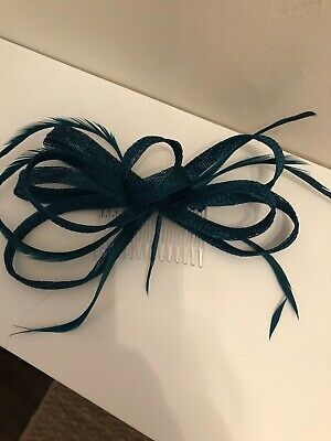 Teal Green Fascinator Feather Comb Small