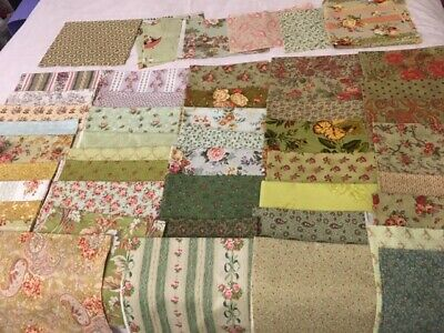 Pretty Vintage Looking Quilt Fabrics Big Lot, Shabby Chic, 50+ Pieces, Washed