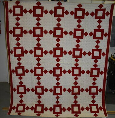 "Red and White ""Diamonds and Squares"" Antique Quilt, Well Quilted, #18719"